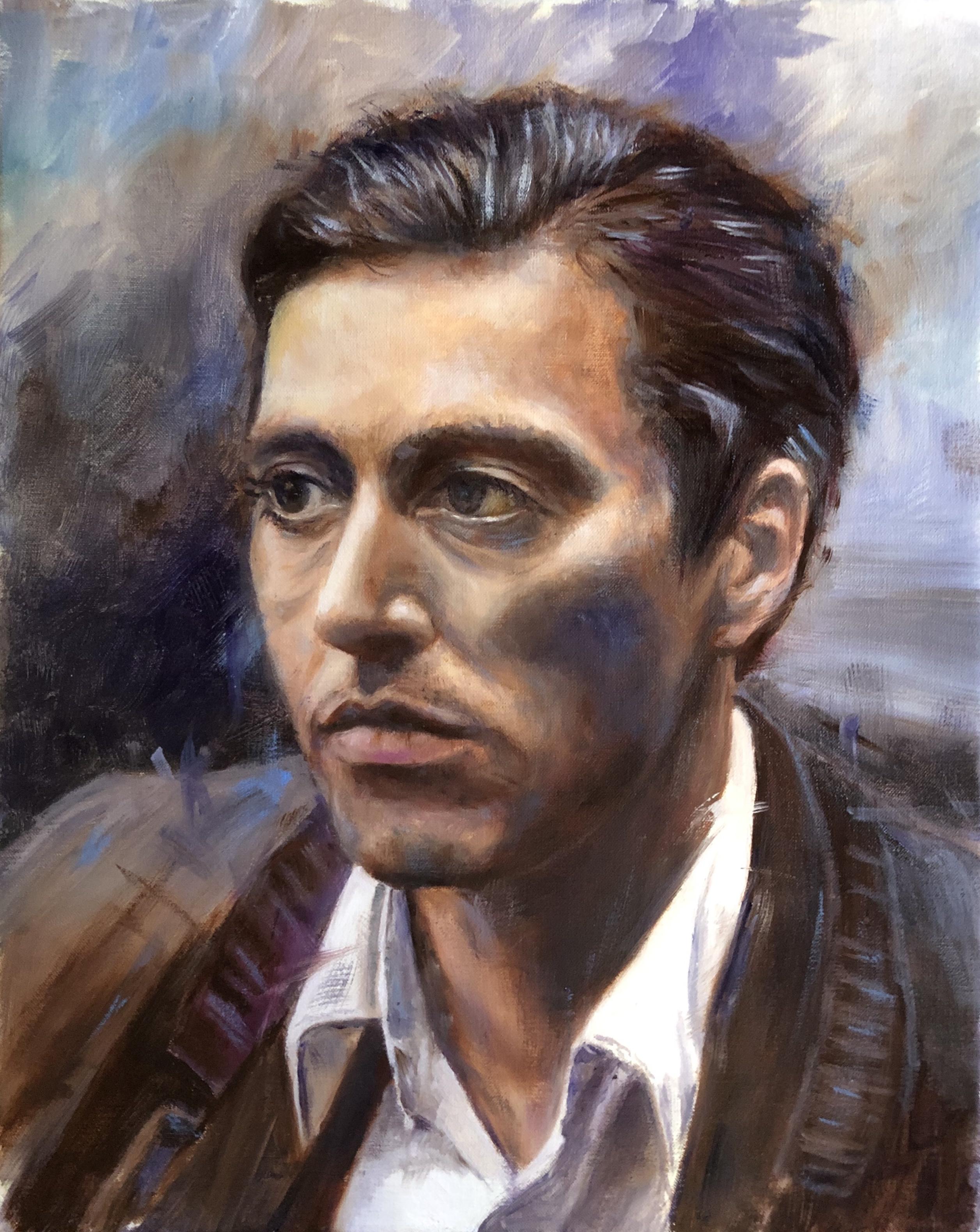 Olieverf 40x50 Michael Corleone